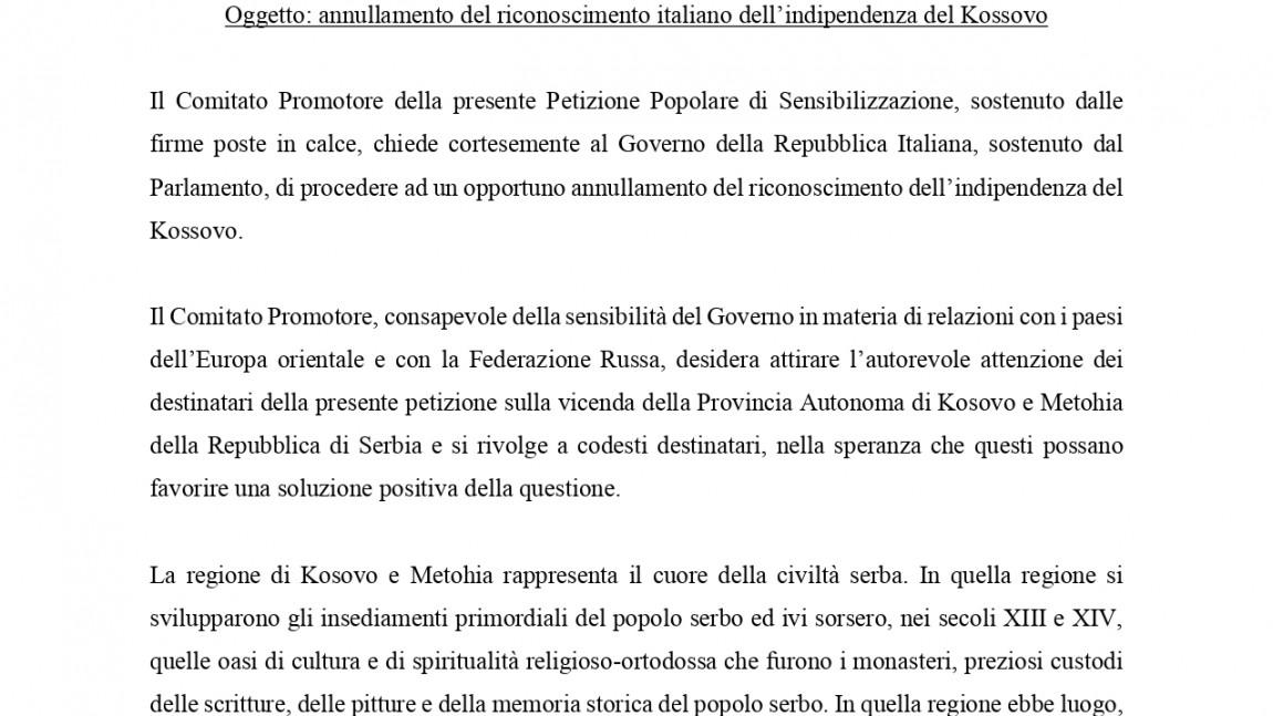 Petizione popolare di sensibilizzazione per il Kosovo e Metohija